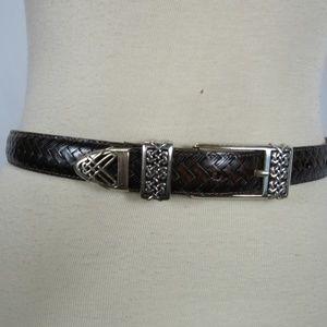 NWOT Brighton Dark Brown Woven Silver Buckle Belt